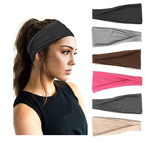 PLOVZ 6 Pack Women's Yoga Running Headbands Sports Workout Hair Bands