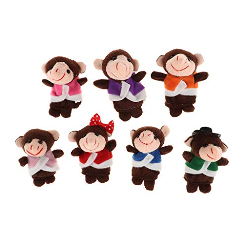 Fityle 7 Pieces Story Time Finger Puppets Set - Soft Plush Puppets - 5 Little Monkeys, 1 Mommy Monkey and 1 Doctor -