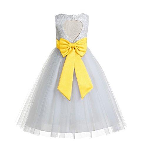 Flower Girl Dresses Yellow And White (ekidsbridal Floral Lace Heart Cutout White Flower Girl Dresses Sunbeam First Communion Dress Baptism Dresses 172T)