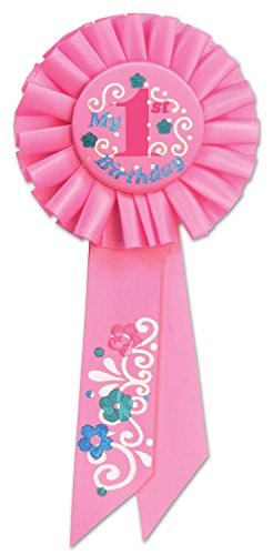 Beistle RS051P My 1st Birthday Rosette, 3-1/4 by 6-1/2-Inch