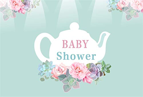 (Yeele Sweet Teapot Backdrop 9x6ft Baby Shower Photography Backdrop Baby Shower Banner Newborn Baby Artistic Portrait Event Decor Room Decoration Photo Booth Studio Props)