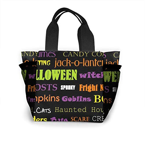 Subway Halloween Bags (ANDY SHAN Portable Lunch Bags, Reusable Large Shopping Tote, Independent Mesh Bags On Both Sides For Entertainment, Picnics, Travel, Beach-Halloween subway art)