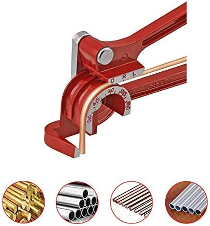 90 Degree Hand Copper Tubing Pipe Bender Tube Bender Tool for 1/4 5/16 and 3/8Inch Refrigeration Soft Copper Brass Aluminum 10 Inches Tool