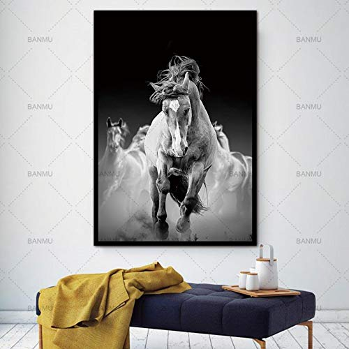 TLLZSH Painting Prints On Canvas,Canvas Painting Hd Animal-Running Grey Horses Decorative Pictures Printed Canvas Wall Art Home Decor Modular Paintings for Living Room,60×90Cm (Paintings Of Horses Running On The Beach)
