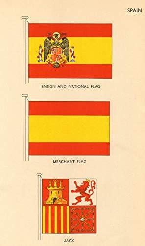 Banderas de España Ensign and National Flag, bandera del vendedor, Jack – 1955 – Old Antique Vintage Print – Art Picture Prints of Spain: Amazon.es: Hogar
