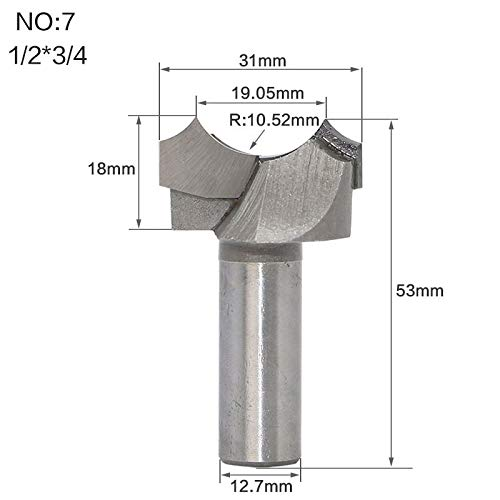 1 piece 1pc 1/4 1/2 Shank Classical Dragon Ball Point-cut Bit Round Over Groove Wood Router Bits C3 Carbide Wood Cutting Tools ()