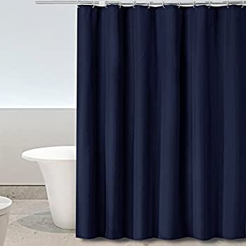 Eforgift Modern Shower Curtain Polyester Fabric Water Repellent and Mildew Resistant, Perfect for Men and Seniors, Non-Plastic Bathroom Shower Curtain Midnight Blue Extra Long, 72 x 84-inch