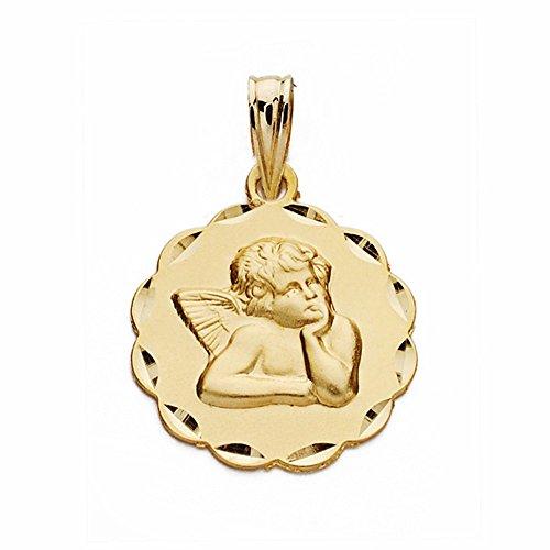Médaille pendentif 18k chérubin d'or ange 16mm moqueuse. sculpté sculptée [AA2528]