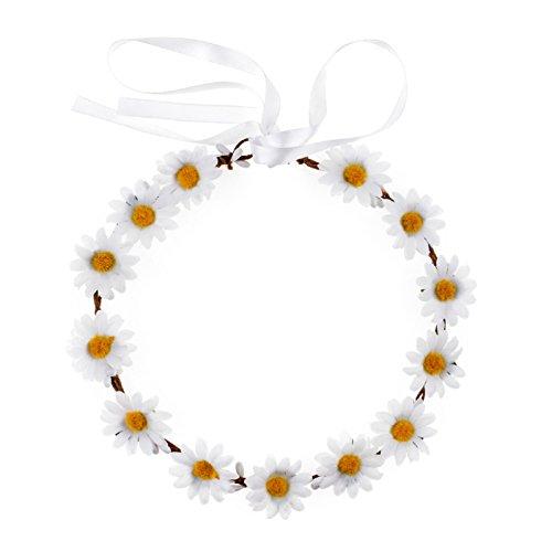 Love Sweety Daisy Flower Headband BOHO Floral Crown Wreath for Wedding Festival (White) ()