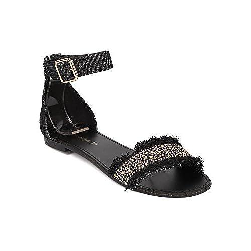 c7e6ed695d35 Women Beaded Flat Sandal - Ankle Strap Sandal - Comfortable Everyday Casual  On The Go Sandal