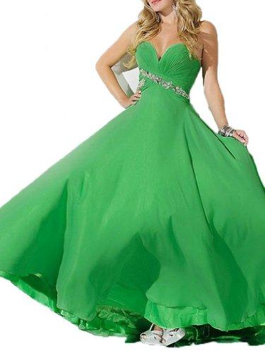 Schleppe Pinsel Kleidungen Abendkleider Grün Ausschnitt Linie Dearta Aermellos A Chiffon Damen Herz 0Rq8a1xAw
