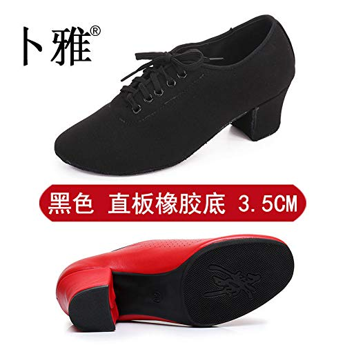 AVBGT Latin Dance Shoes Female Adult Oxford Cloth Heel Teacher Shoes Autumn and Winter,Black Straight Bottom 3.5Cm Rubber Sole,Thirty-Three