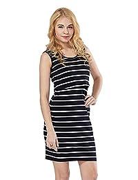 Green Home Women's Striped Short Sleeves Maternity Nursing Dress