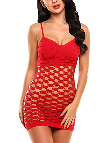 Avidlove Stripper Outfit Women's Fishnet Lingerie Mesh Hole Strap Chemise Badydoll Mini Dress Red