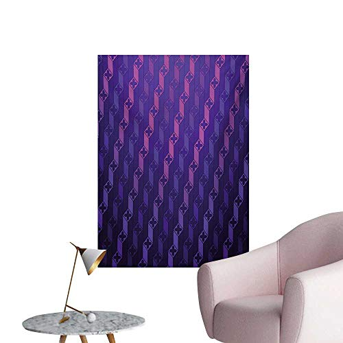 Anzhutwelve Indigo Photographic Wallpaper Stairs Like Modern Futuristic Minimalist Squares with Cross on TopPurple and Magenta Blue W24 xL36 The Office Poster