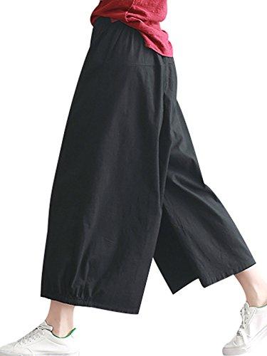 Elastic Trousers Leg Women's Summer Waist Bigassets Linen Wide Nero Pants Cotton YqxEX7xwZf