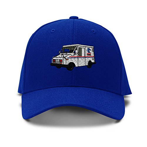 Speedy Pros Mail Truck Mailman Embroidery Adjustable Structured Baseball Hat Royal Blue