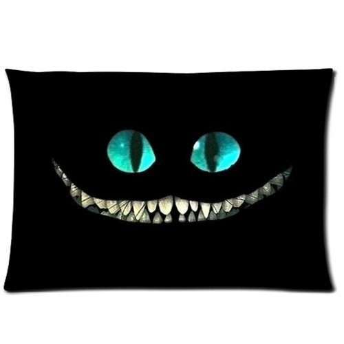 Vintage Cheshire Cat Throw Pillow Case Sofa Bed Home Decor Cushion Cover 20x26 (twin sides) Zippered (Jr Twin Chair Cover)