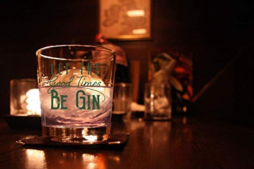 Let the Good Times Be Gin Glass – Funny Lowball Glasses Gifts Men Women – Unique Birthday Gift Presents Best Friend Dad…