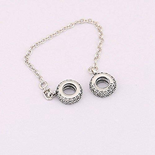 07457ae713c7 Heart Safety Chain Charm 925 Sterling Silver Beads fit Pandora Charms  Bracelet   Necklace (Sparkling