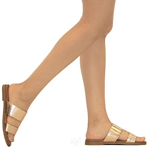 Pu Shoes Criss Summer Strappy Penny Leather s Cross Women's Slip Mve On Faux Slide Sandals Flats Sandal fdvZfw