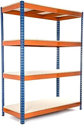 cargas pesadas capacidad de carga total 1600kg + Env/ío gratis 4 niveles 1800mm Al x 1800mm An x 450mm Pr Racking Solutions Estanter/ía // Estante del garaje// Sistema de almacenamiento de acero