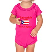 Cute Rascals Adorable Puerto Rican Puerto Rico Cotton Short Sleeve Scoop Neck Girl Sunflower Ruffle Baby Bodysuit - Hot Pink, 18 Months