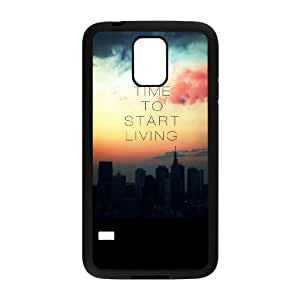 Samsung Galaxy S5 Cell Phone Case Black_quotes parallax time start living Kuwdy