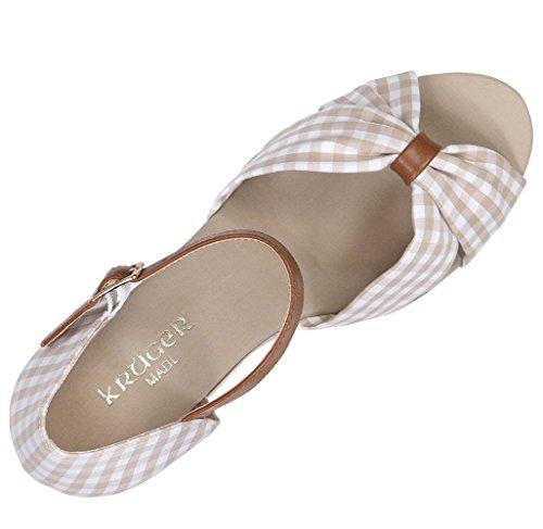 Beige de amp; de costume Ger x178; Chaussures Kr avec Madl Beige compensés Femme talons Compensés carreaux beige à v4Tqqpxw