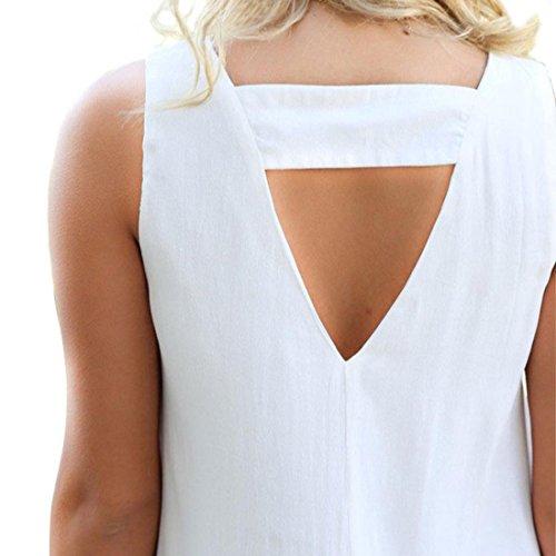 Tongshi Sin mangas atractivo de las mujeres de las borlas del collar de V Perspectiva de Bodycon del mini vestido Blanco