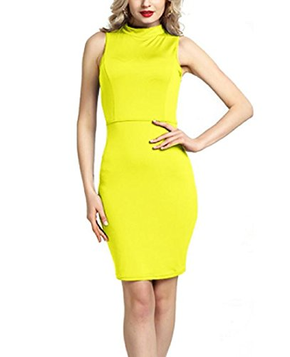 Sleeveless Out Back Girls Cut Sexy Yellow Dress Business Coolred Women Pencil F0Ungxw