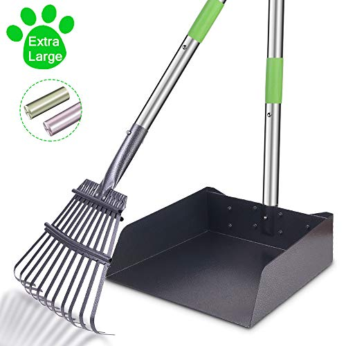 TNELTUEB Extra Large Dog Pooper Scooper, Metal Pet Poop Tray & Rake Set, Adjustable Long Handle for Large Dogs - Great for Grass/Street/Gravel
