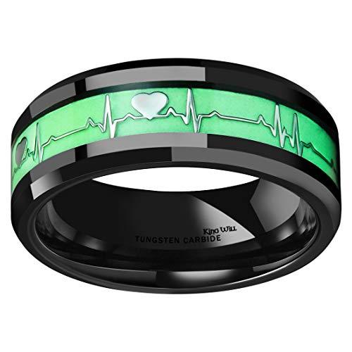 King Will Aurora Men 8mm Black Tungsten Carbide Wedding Ring Heartbeat Luminous Glowing Band 9