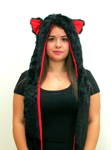 Black Cat Anime Faux Animal Hood Hoods Mittens Gloves Scarf Spirit Paws Ears Zipper Pocket … (Black Cat / Red Lining Red (Cat Ears Spirit Halloween)