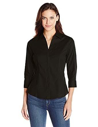 Riders by Lee Indigo Women's Bella 3/4 Sleeve Woven Shirt, Black Soot, X-Large