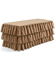 LA Linen 6 Feet Fitted Ruffled Burlap Hand Made Tablecloth Pack Of 1 Natural Color