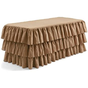 LA Linen 6 Feet Fitted, Ruffled Burlap Hand Made Tablecloth / Pack Of 1