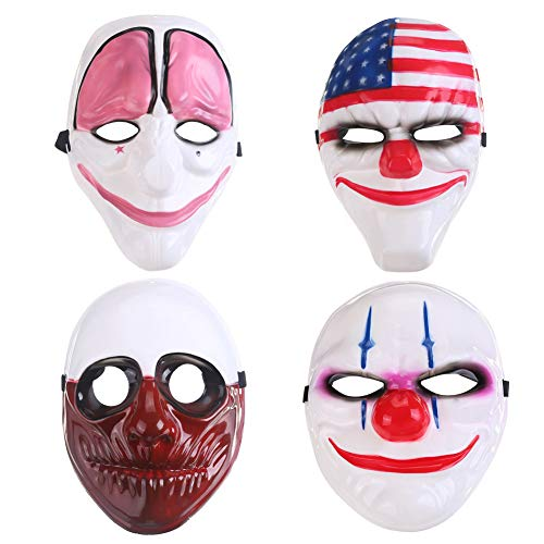 Payday 2 Mask for Masquerade, Halloween, Christmas, Birthday and Prom ect Cosplay Party Simple and Cheap PVC Mask 4 Piece Set