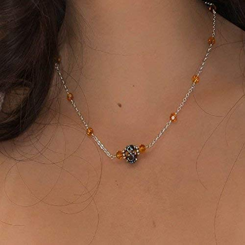 Amber Lampwork Topaz Crystal Sterling Silver Chain Necklace