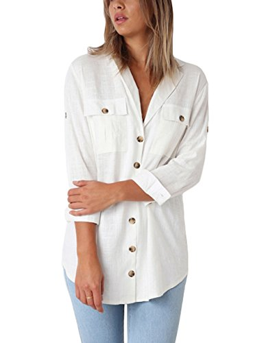 GRAPENT Women's Casual Loose Roll-up Sleeve Blouse Pocket Button Down Shirts Tops L(US 12-14) by GRAPENT (Image #2)