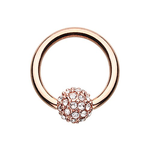 Rose Gold Full Dome Pave Steel Captive Bead Ring (Sold Individually) (14G, Length: 3/8