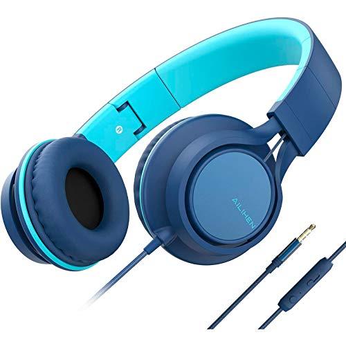 🥇 AILIHEN C8 Auriculares para niñas con micrófono y Control de Volumen Auriculares Ligeros Plegables para tabletas iPad Smartphones Computadora portátil PC