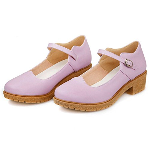 COOLCEPT Women Casual Low Heel Mary Jane Court Shoes With Buckle Purple hi8kM
