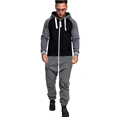 One Playsuit (Clearance! Men's Fashion Onesie Zip Up All In One Hooded Jumpsuit Playsuit Adult Pajamas Sportswear (Dark Gray -1, L))