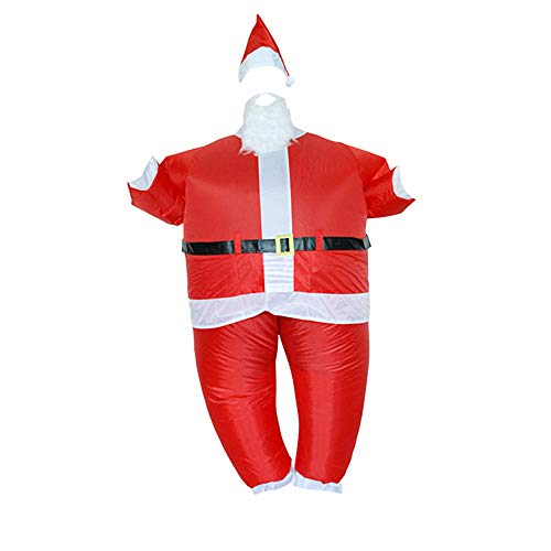 CMrtew Cosplay Christmas Santa Claus Inflatable Suit Christmas Fun Funny Inflatable Uniform Adult Costume Christmas Party Costume (Red, 160-190cm)