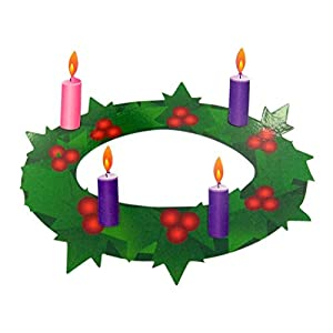 Advent Wreath with Pink and Purple Candles Flexible Magnet Set, 7 Inch 107
