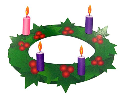 Advent Wreath with Pink and Purple Candles Flexible Magnet Set, 7 Inch