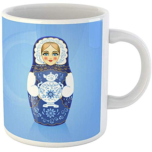 (Funny Office Coffee Mug Gzhel Painting Blue Russian Babushka or Matryoshka Doll with Samovar 11 Oz Ceramic Coffee Mugs Tea Cup)