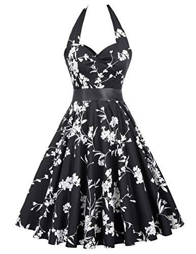 (Women's Havana Dresses Vintage White Flowers in Black Pattern(S,75-33))