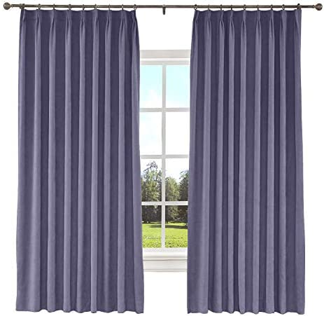 TWOPAGES Indoor Blackout Pinch Pleated Curtains for Living Room, 1 Panel, Thermal Insulated Soft Curtains Extra Width Curtains Drapes 100 x 96 Inch, Purple